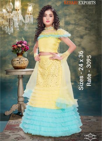 Festival Wear Yellow And Sky Blue Net Kids Lehenga Choli
