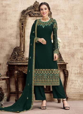Wedding Wear Green Embroidery Work Georgette Salwar Suit