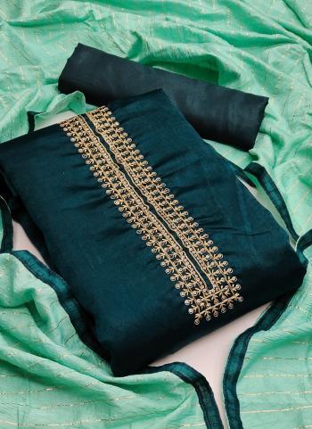 Festival Wear Bottle Green Sequins Work Fancy Silk Dress Material