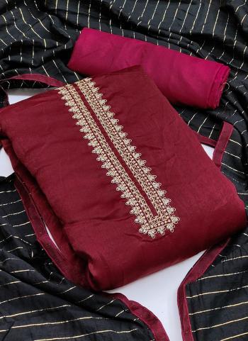 Festival Wear Maroon Sequins Work Fancy Silk Dress Material
