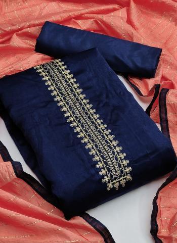 Festival Wear Navy Blue Sequins Work Fancy Silk Dress Material