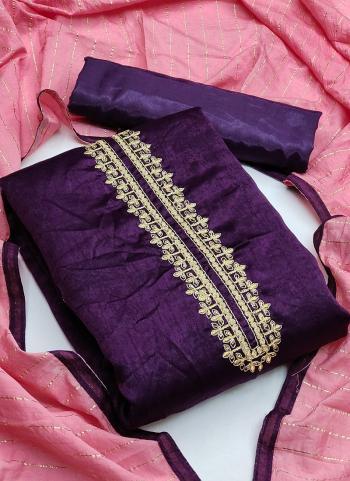 Festival Wear Purple Sequins Work Fancy Silk Dress Material