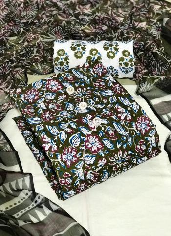 Daily Wear Brown Digital Printed Work Cotton Dress Material
