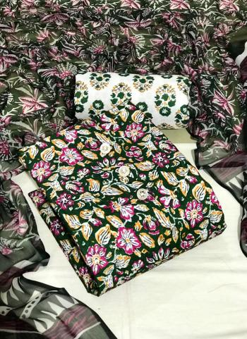 Daily Wear Teal Green Digital Printed Work Cotton Dress Material