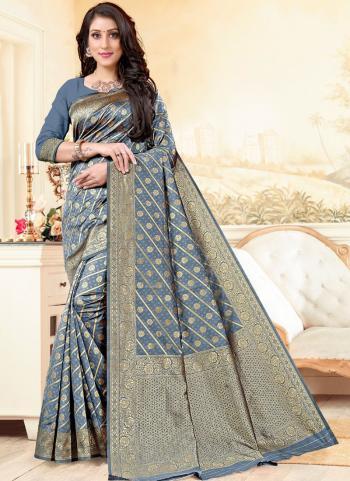 Party Wear Grey Weaving Work Banarasi Silk Saree