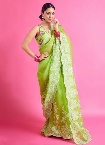 Festival Wear Sea Green Embroidery Work Organza Saree
