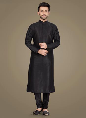 Festival Wear Black Weaving Work Art Silk Kurta Pajama