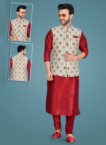 Festival Wear Maroon Weaving Work Art Silk Kurta Pajama