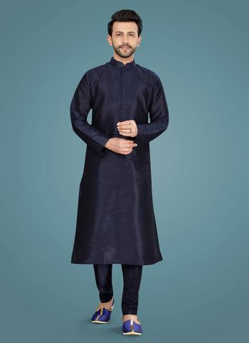 Festival Wear Navy Blue Weaving Work Art Silk Kurta Pajama