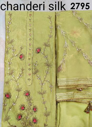 Traditional Wear Light Green Embroidery Work Chanderi Silk Dress Material