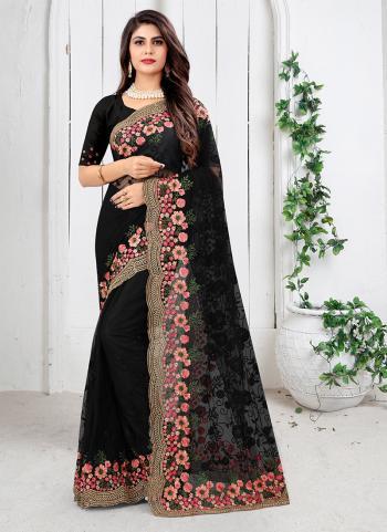 Wedding Wear Black Embroidery Work Net Saree