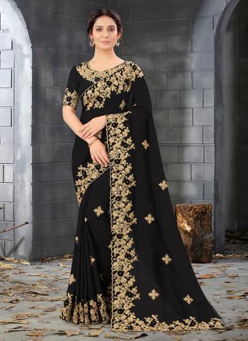 Reception Wear Black Codding Work Cherry Silk Saree
