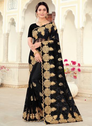 Party Wear Black Resham Work Net Saree