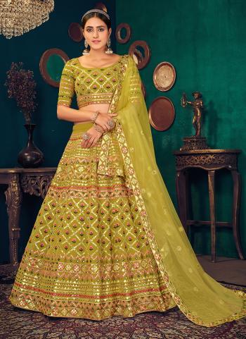 Traditional Wear Green Thread Work Georgette Lehenga Choli