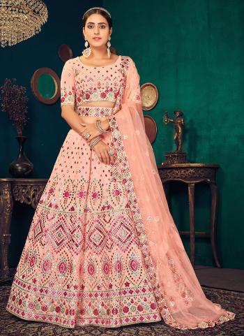 Traditional Wear Light Pink Thread Work Georgette Lehenga Choli