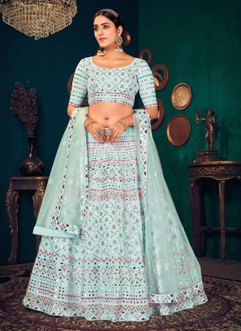 Traditional Wear Sky blue  Thread Work Georgette Lehenga Choli