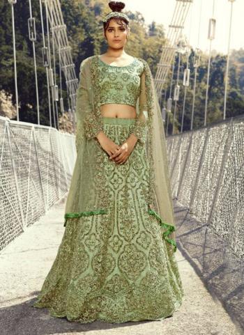 Bridal Wear Light Green Embroidery Work Net Lehenga Choli