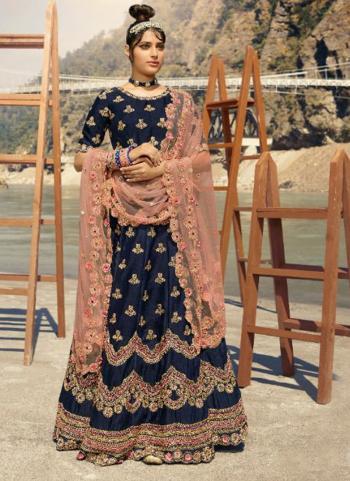 Bridal Wear Navy Blue Embroidery Work Pure Silk Lehenga Choli