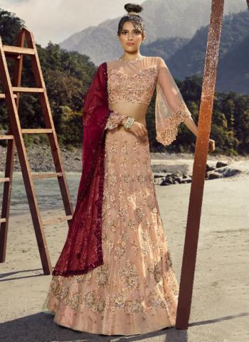 Bridal Wear Pink Embroidery Work Net Lehenga Choli