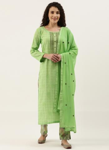 Daily Wear Light Green Embroidery Work Cotton Straight Suit