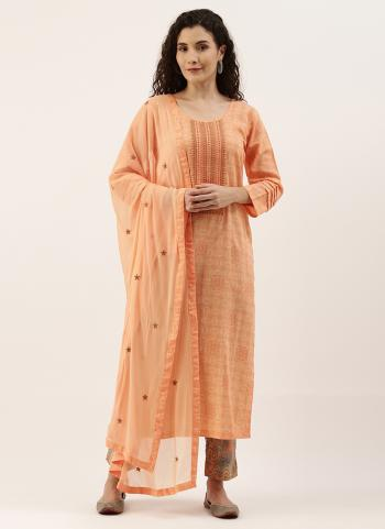 Daily Wear Peach Embroidery Work Cotton Straight Suit