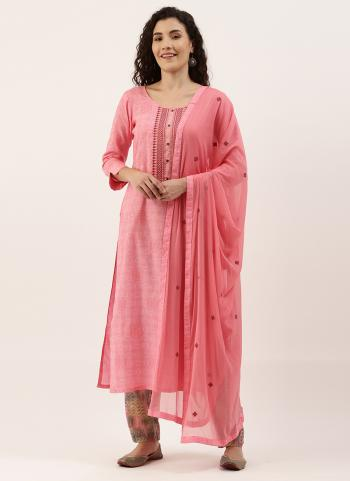 Daily Wear Pink Embroidery Work Cotton Straight Suit