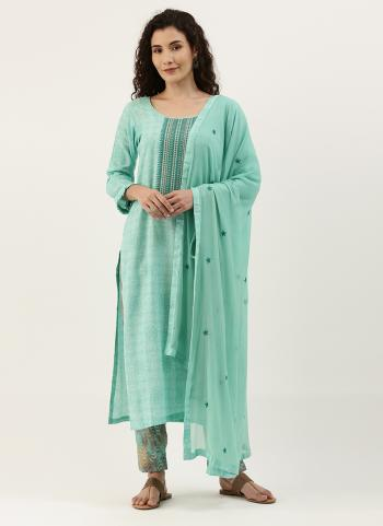 Daily Wear Sky blue  Embroidery Work Cotton Straight Suit