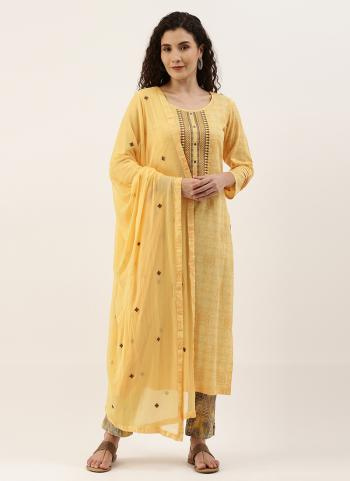 Daily Wear Yellow Embroidery Work Cotton Straight Suit