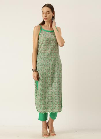 Regular Wear Teal Printed Work Cotton Kurti With Pant