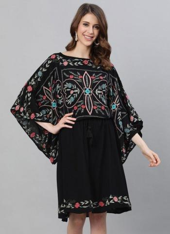 Casual Wear Black Embroidery Work Cotton Kurti