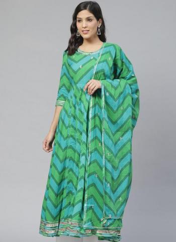 Casual Wear Green Embroidery Work Cotton Kurti