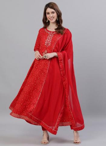 Casual Wear Red Embroidery Work Cotton Kurti