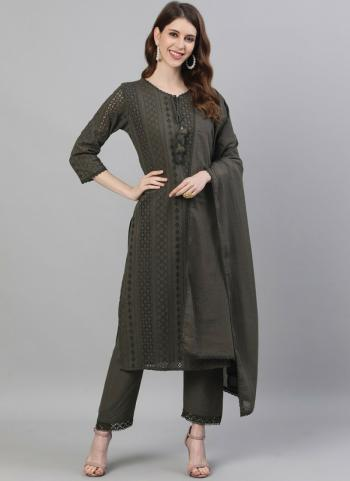 Casual Wear Green Embroidery Work Cotton Readymade Salwar Suit