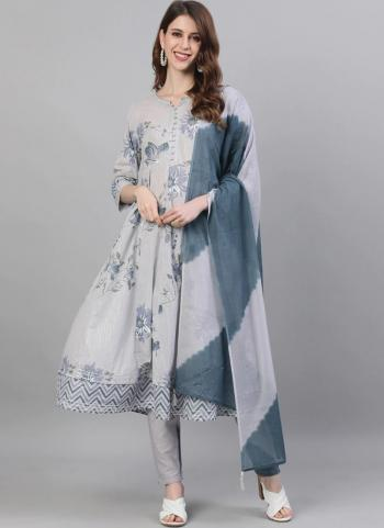 Casual Wear Grey Embroidery Work Cotton Readymade Salwar Suit
