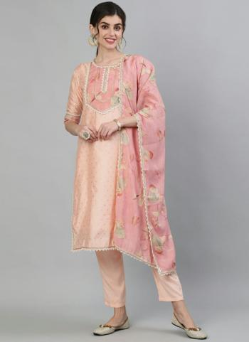 Casual Wear Peach Embroidery Work Cotton Readymade Salwar Suit