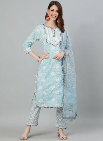 Festival Wear Sky blue  Embroidery Work Cotton Readymade Salwar Suit