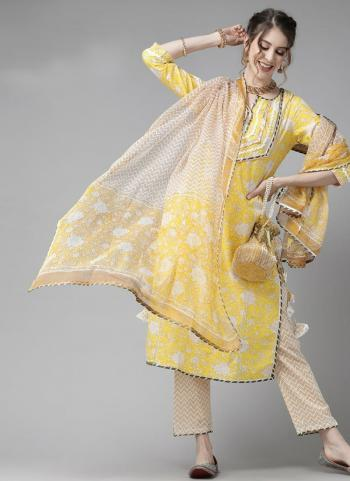 Festival Wear Yellow Embroidery Work Cotton Readymade Salwar Suit