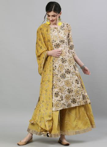 Traditional Wear Beige Embroidery Work Cotton Readymade Sharara Suit