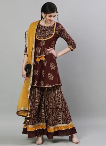 Traditional Wear Brown Embroidery Work Cotton Readymade Sharara Suit