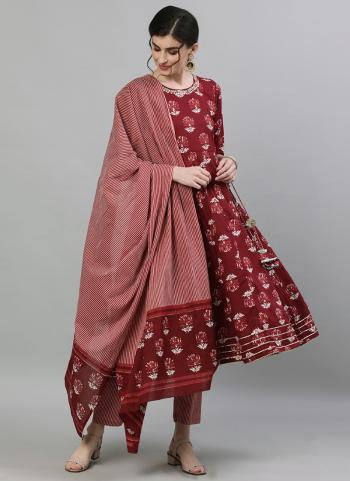 Traditional Wear Maroon Embroidery Work Cotton Readymade Anarkali Suit