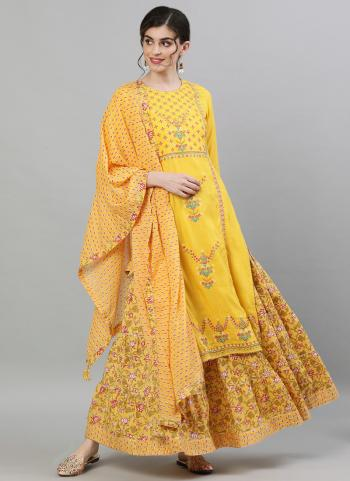 Traditional Wear Yellow Embroidery Work Cotton Readymade Sharara Suit