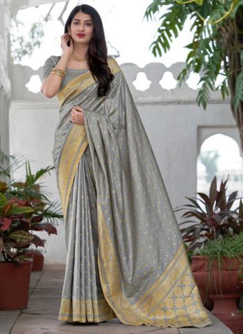 Wedding Wear Grey Weaving Work Silk Saree