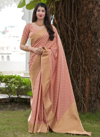 Wedding Wear Light Pink Weaving Work Silk Saree