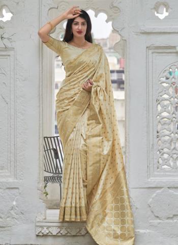 Wedding Wear New Cream Weaving Work Silk Saree