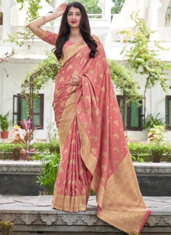 Wedding Wear Pink Weaving Work Silk Saree