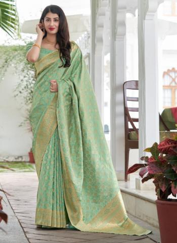 Wedding Wear Pista Green Weaving Work Silk Saree