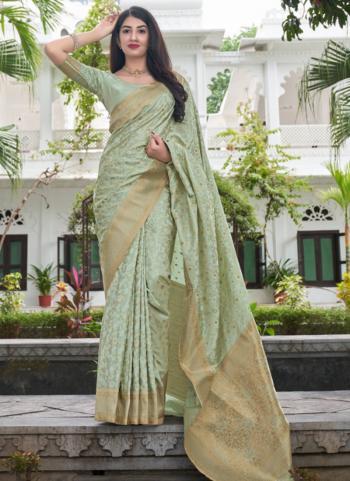 Wedding Wear Sea Green Weaving Work Silk Saree