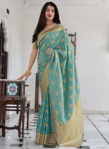 Wedding Wear Sky Blue  Weaving Work Silk Saree