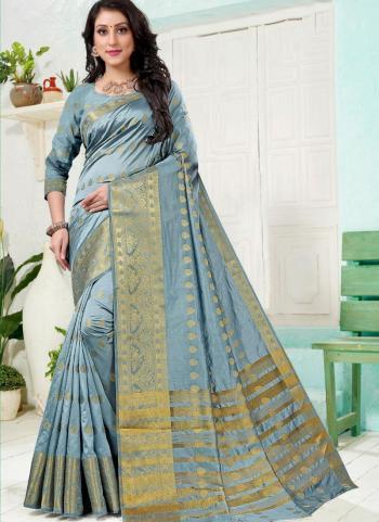 Festival Wear Grey Weaving Work Silk Saree