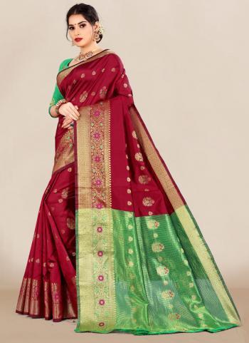 Festival Wear Maroon Weaving Work Silk Saree